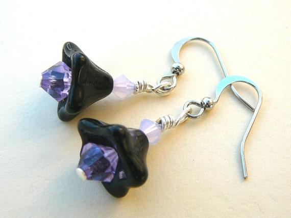 Black And Purple Flower Earrings