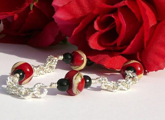 Black, Red And Neutral Lampwork Bracelet