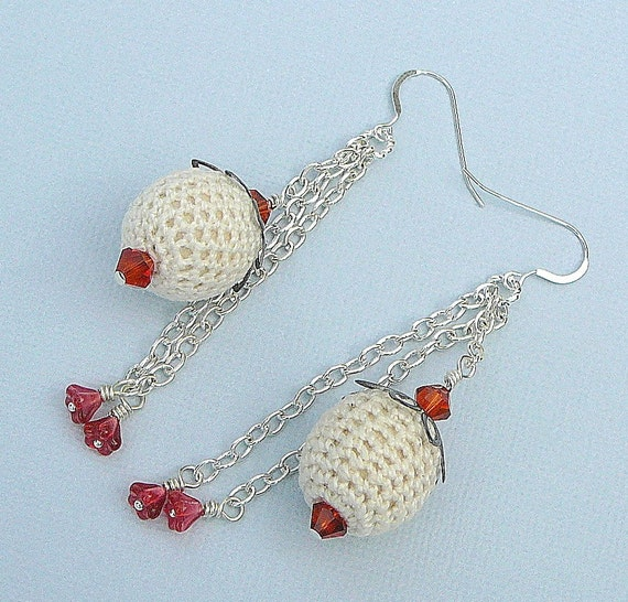 Crotched Ball Earrings With Swarovski Crystals