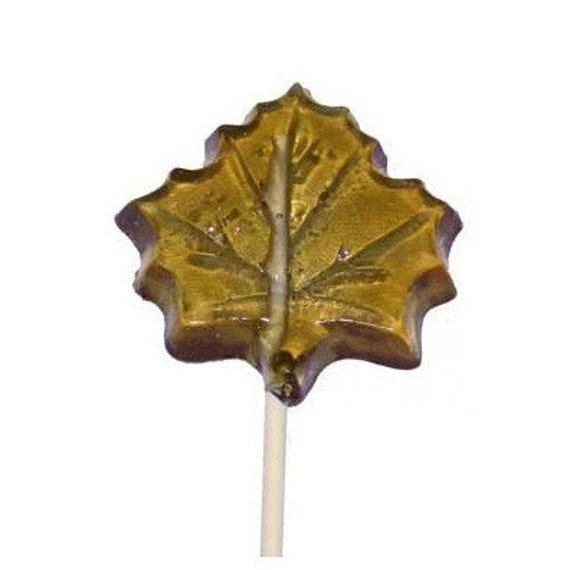 10 MAPLE LEAF Crystal Barley Candy LOLLIPOPS - New Hampshire Made