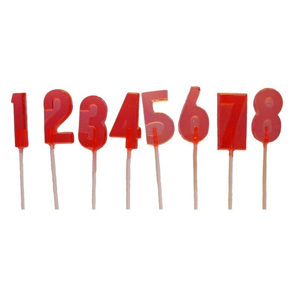 10 NUMBERS Crystal Barley Hard Candy LOLLIPOPS - Perfect For Birthday Age or Anniversary Party Favors