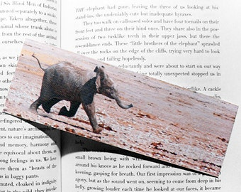 Baby Elephant Bookmark - canvas printed bookmark 2x6 inches (5x15cm) - cute baby animal print