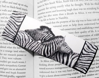 Art Bookmark - Zebra Love - canvas printed bookmark 2x6 inches (5x15cm) - African safari animal zebra print