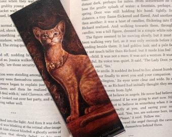 Art Bookmark - Cat Goddess Bast - canvas printed bookmark 2x6 inches (5x15cm) - Egypt mythology cat art print