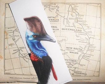 Bird Art Bookmark - Cassowary - canvas printed bookmark  2x6 inches (5x15cm) - Australian bird wildlife art print