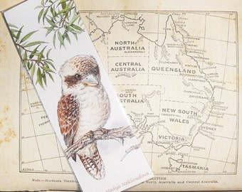 Bird Art Bookmark - Kookaburra - canvas printed bookmark  2x6 inches (5x15cm) - Australian bird wildlife art print