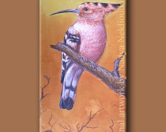The Sunbird - Hoopoe - Original Acrylic Painting on Canvas - 21 x 51cm (8 x 20 inches)
