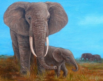 Elephant Family - Canvas Print - Reproduction of original acrylic painting - 45x30cm (17.7 x 11.8 inches)