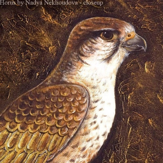Egyptian Falcon God Horus - Canvas Print Reproduction of original painting - 61x42cm (24x16 inches)