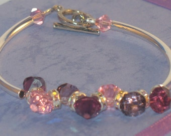 Rose, Lavender and Amethyst Swarovski Crystal Bracelet