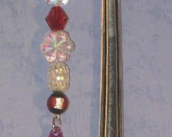 Silver Bookmark with Lampwork Beads and Red Crystal Briolette