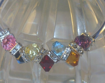 Multi Colored Swarovski Crystal Bangle Bracelet