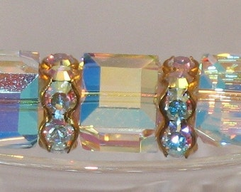 Gold Tube Bracelet with Swarovski Crystal Cubes