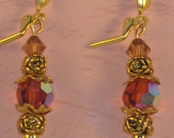 Earrings with Padparadscha AB Swarovski Crystal and gold