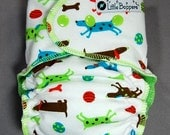 Cloth Diaper Medium AI2 All-in-2 - by Little Boppers - Spotted Dogs