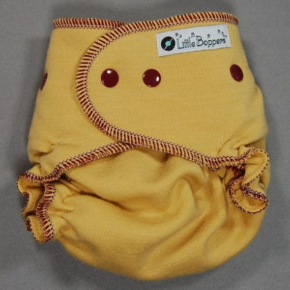 One Size Wool Cloth Diaper Cover - by Little Boppers - Goldenrod with Claret Trim