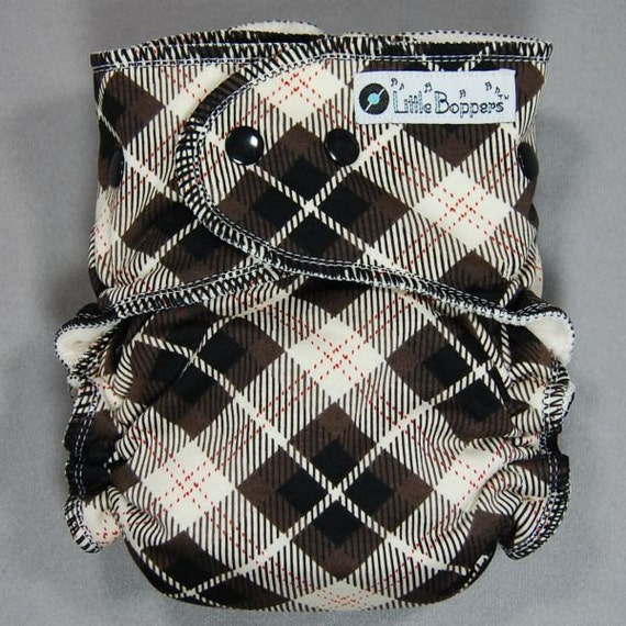 Cloth Diaper One Size Fitted - by Little Boppers - Argyle -