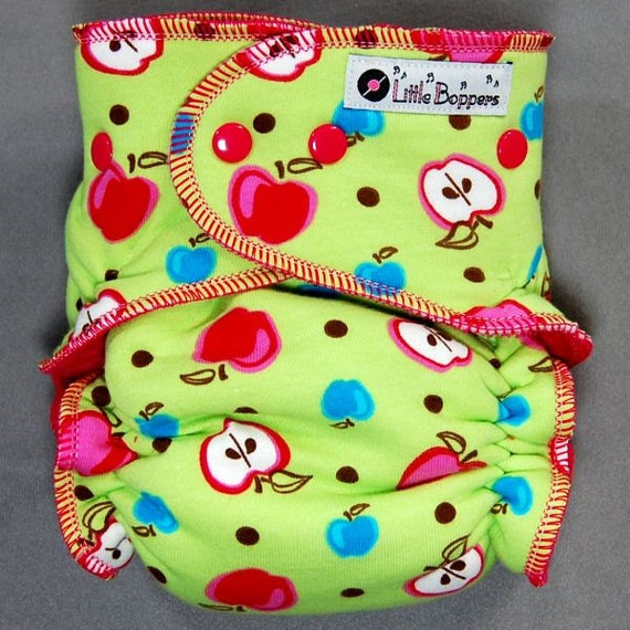 Cloth Diaper One Size Hybrid Fitted - by Little Boppers - Apples