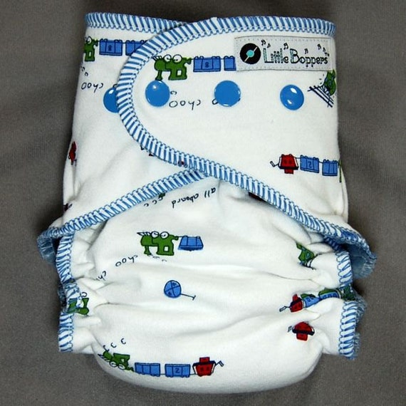 Cloth Diaper Medium Long Fitted - by Little Boppers - Choo Choo