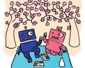 Cherry Blossom Picnic  - Greeting Card