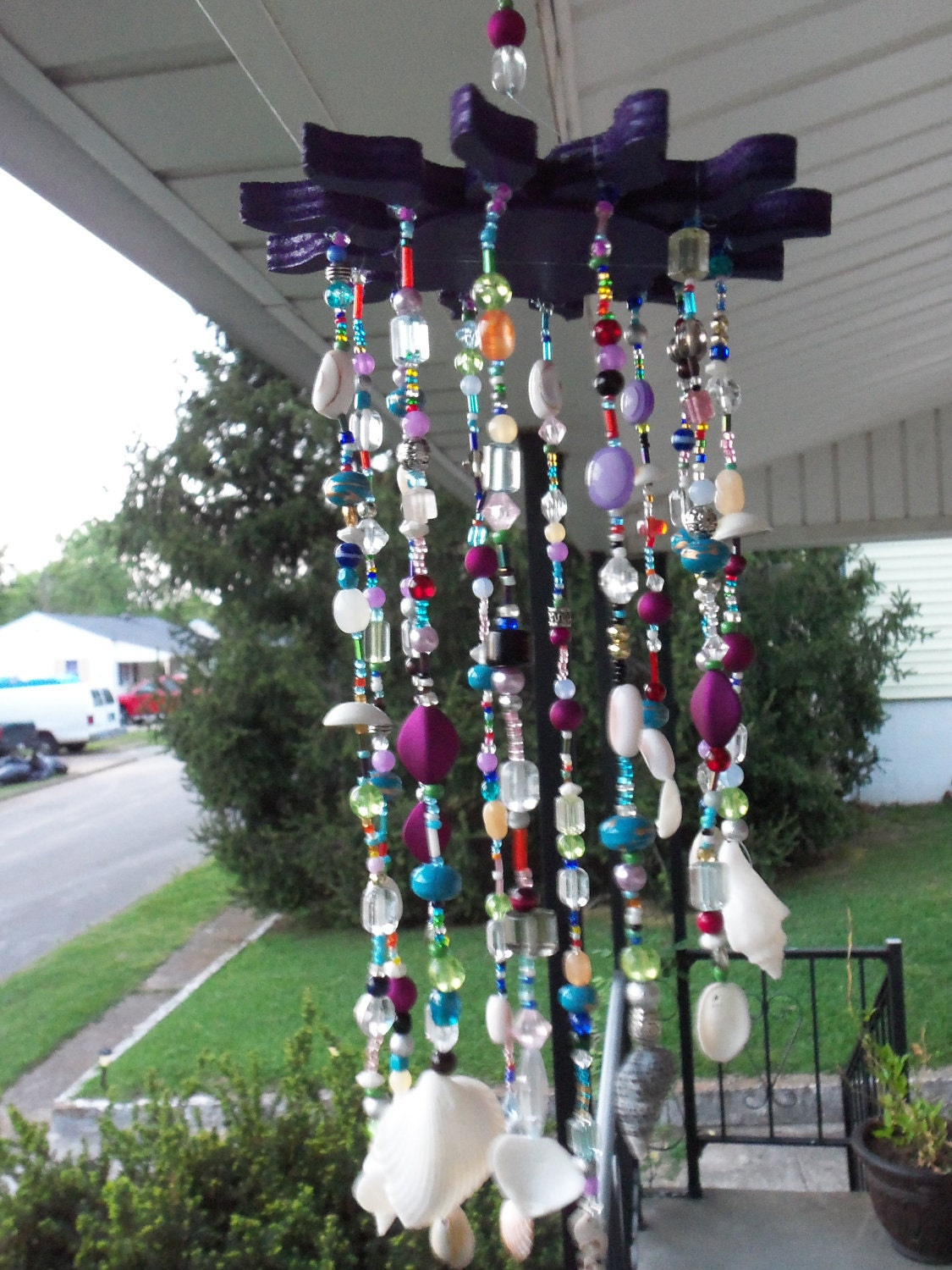 Bohemian Gypsy Beaded Seashell Wind Chime With Purple Sun
