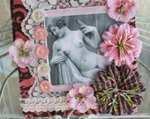 Vintage Nude Mixed Media Mini Quilt Wall Art DRINK WITH ME