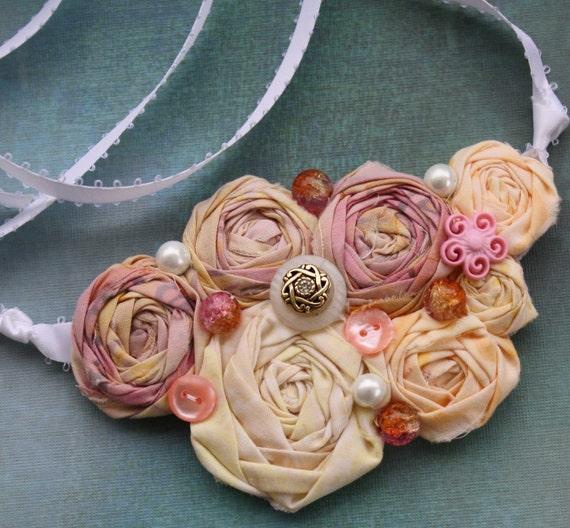 Pretty Fabric Bib Necklace JUST PEACHY  Statement or Wedding Piece Small