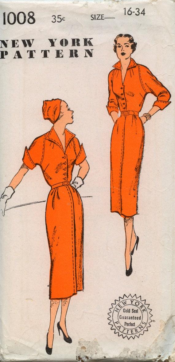 Vintage New York Pattern 1940s UNCUT Sophisicated Cosmopolitan Fashion Very Cool
