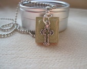HAITI RELIEF FUNDRAISER  Green Tile Pendant with Cross Charm    All PROCEEDS GO TO HAITI