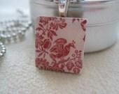 HAITI RELIEF FUNDRAISER  Red Bird Toile   Scrabble Tile Pendant Necklace    All PROCEEDS GO TO HAITI