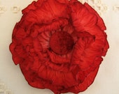 """French Wired Ribbon Rose Red Ombré 3 yds 7/8"""" wide #58"""
