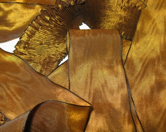 """Pleated Rayon Moire Ribbon Bronze Camel Ribbon Work Ribbon Flowers Doll Costuming 1 yd 2"""" wide"""