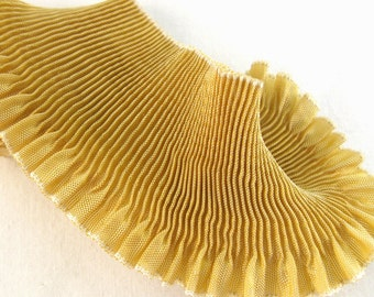 """Pleated Rayon Moire Ribbon Golden Haze Ribbon Work Ribbon Flowers Doll Costuming 1 yd 2"""" wide"""