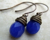 Brass and Glass Mini  Drop Earrings (Periwinkle)