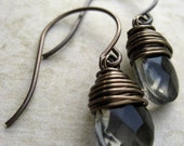 Brass and Glass Mini  Drop Earrings (Shadow)