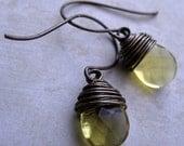 Brass and Glass Mini  Drop Earrings (Citrine)