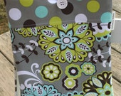 Shabby Ipad or Ipad 2 Case or Cover in Aqua and Lime  - Completely padded, custom orders or colors available.