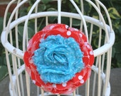 Shabby Fabric Flower Pin & Hairclip in Tangerine and Robins Egg Blue