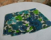Vintage Fabric, blue and green flowers, 1 yardSave 20%-use coupon code TwentyOffToday