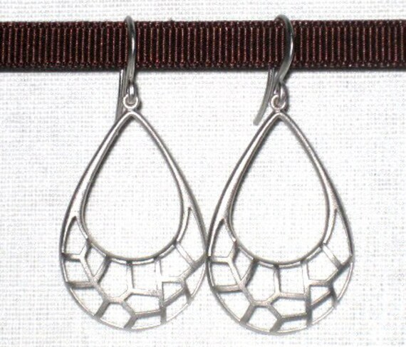 25% off Sale - Silver web teardrop earrings