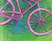 Pink Cruiser Bike - Print of Original Mini Painting
