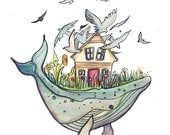 On the Whale - LIMTED EDITION Ink and Watercolor Drawing  of whale with house on its back