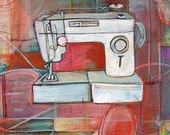 Sewing Machine - Gather Along These Lines - LIMTED EDITION Print of original Painting