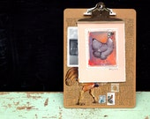 Sewn Canvas Original Collage with Chicken wearing a bowler hat on a peach background