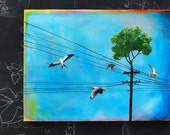 Telephone Pole Tree with Birds and wires - Home away from Home - ORIGINAL painting