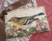 Bird Tags - Vintage Bird Tags - Strawberry Thief Bird - Set of 4