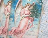 Vintage Angel Tags - Christmas Angel Tags - Christmas Star Angel Gift Tags - Set of 3
