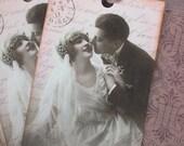 Vintage Wedding Tags - Paris Wedding Tags - Pink - Set of 3
