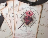 Religious Tags - French Prayer Card - Sacred Heart of Jesus - Set of 4