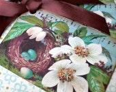 Bird Nest Tags - Magnolia Blossom - Vintage Bird Nest Tags - Set of 6